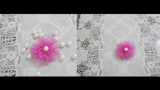 FLOR DE FITA DE ORGANZA Passo A Passo Parte1 Ribbon Flower Organza
