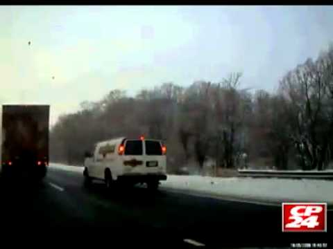 CP24 driver's dashcam catches potential head-on crash on Highway 401
