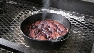 Smokingpit.com - Dutch Oven Chocolate Pudding Cake Cooked Outdoors On My Scottsdale