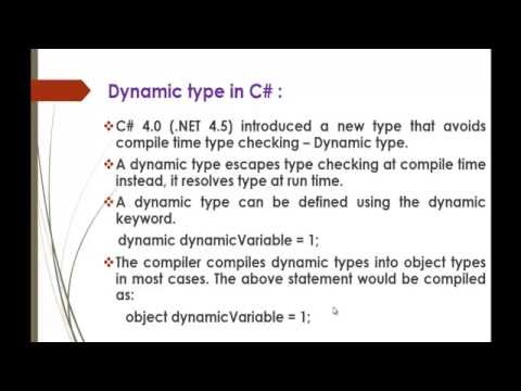 C# Beginner to advanced - Lesson 62 - What is Dynamic type? How