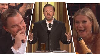Ricky Gervais' Golden Globes 2020 Monologue Shades Felicity Huffman, Leonardo DiCaprio and More