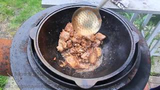 Готовим в казане - мясо и печень / Beef liver with meat