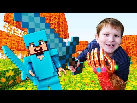 Онлайн игры для мальчиков – Стив Майнкрафт и супергерои защищают базу! – Титан Танос в новом видео.