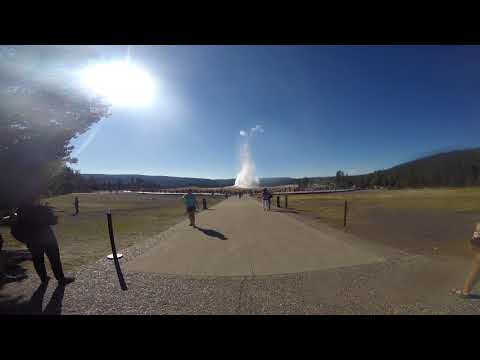 Old Faithful Geyser Eruption at Yellowstone National Park