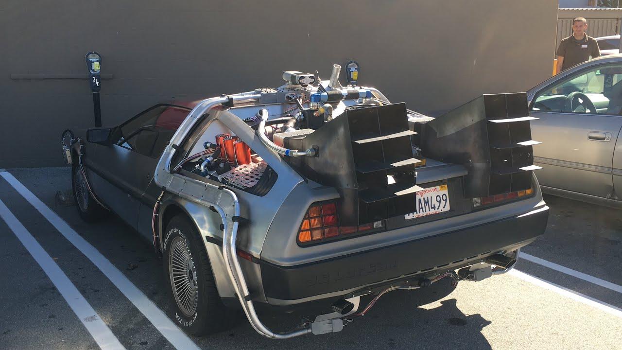 back to the future movie car delorean walk around and