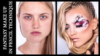 Fantasy Make Up in Pencil Technique \ Видео-урок