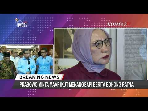 Hoaks Pemukulan Ratna Sarumpaet, Prabowo Minta Maaf