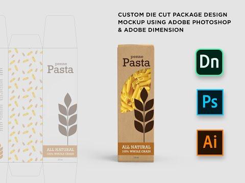 Custom Die-cut Package Design Mockup Using Adobe Photoshop & Adobe Dimension