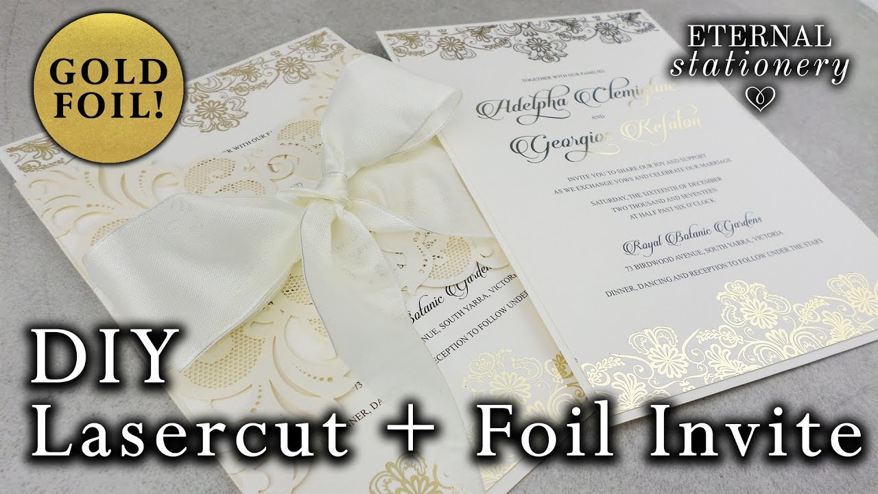 How to gold foil an elegant laser cut invitation diy wedding how to gold foil an elegant laser cut invitation diy wedding invitations eternal stationery solutioingenieria Images