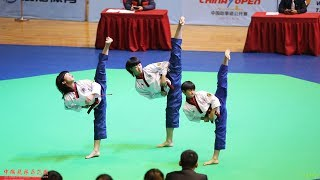 2017 China Open Group Poomsae,Young Junior 1st,Dragon Kids,2017 中国跆拳道公开赛 团体品势 少年组 冠军 龙拳小子 林秋楠 文志 董靖坤
