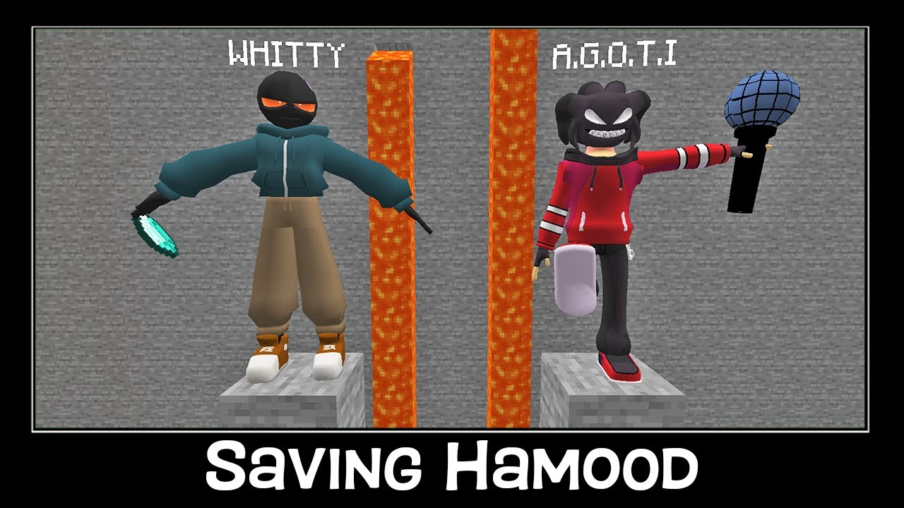 Minecraft FNF Whitty vs A.G.O.T.I Saving Hamood And Avocados from Mexico CHALLENGE Animation Part