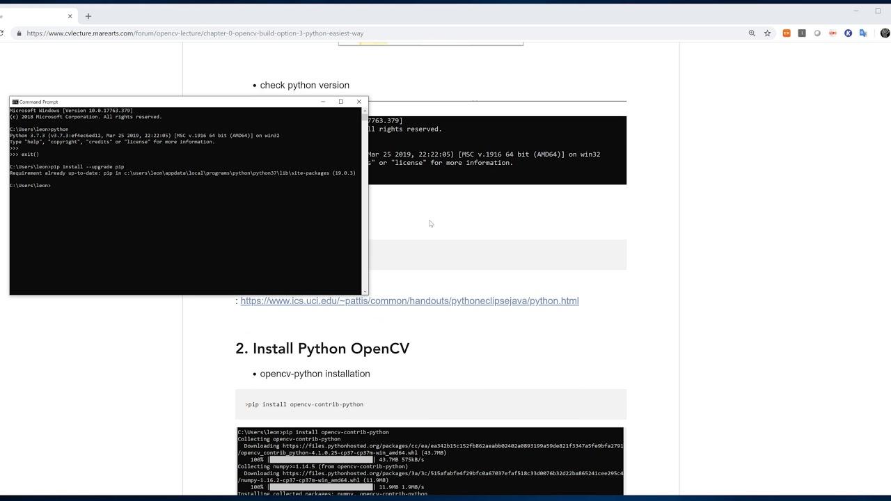 OpenCV + Python build (1/2) - python+OpenCV install