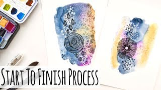 Watercolor Abstract Painting - Start To Finish Process