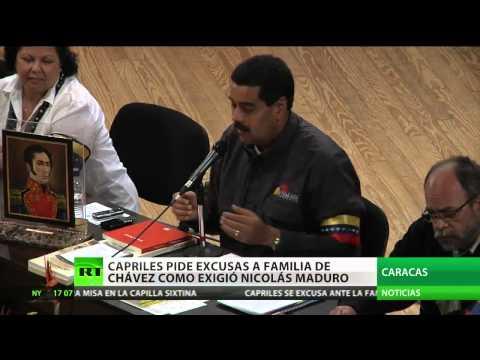 Henrique Capriles se excusa con la familia de Chávez