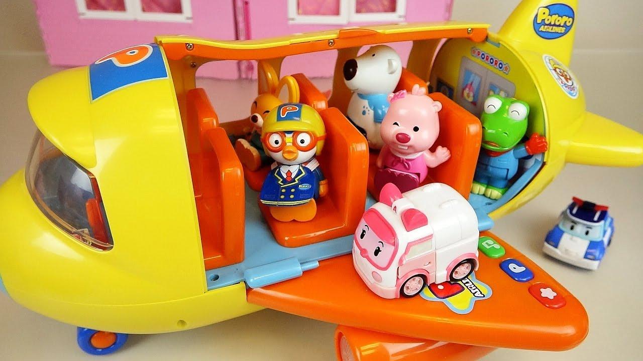 Jos And Toys : Pororo airplane robocar poli car toys and kinder joy youtube