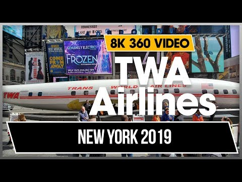 8K 4K 360 VR Video Walking Times Square TWA Airplane Airline New York Midtown Manhattan 2018 USA NYC