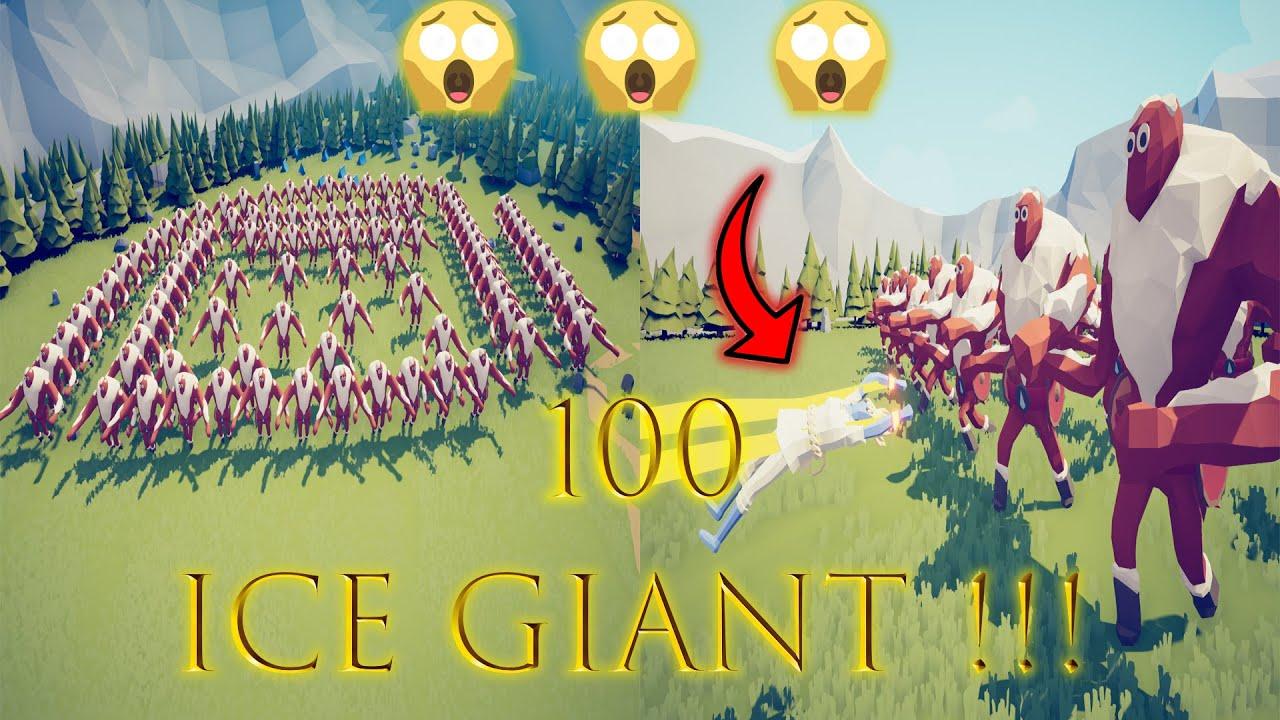 Super Peasant VS 100 Ice Giant!!! (TABS) عمالقة الجليد ضد سوبر مان المضحك