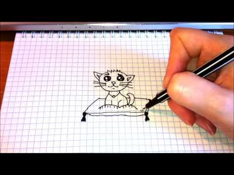 Простые рисунки # 70 Котёнок на подушке.