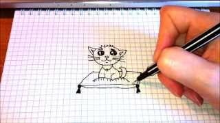 Простые рисунки # 70 Котёнок на подушке.(Как нарисовать простой рисунок обычной гелевой ручкой за несколько минут. Спасибо, что смотрите мои видео...., 2014-03-12T12:13:10.000Z)