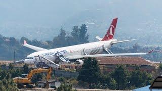 Turkish Airlines Airbus after crash-landing at Kathmandu airport