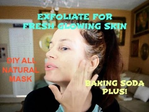 Youthful Radiant Skin All Natural DIY Exfoliating Face Mask Baking Soda + Coconut Oil Scrub