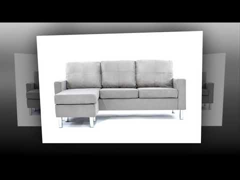 Divano Roma Furniture Modern Microfiber Sectional Sofa Small E Configurable Grey