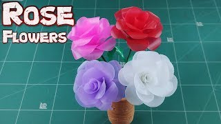 DIY Drinking Straw Crafts Idea | How to Make Fold A Rose Flower From Plastic Tubes Tutorial Ep.10