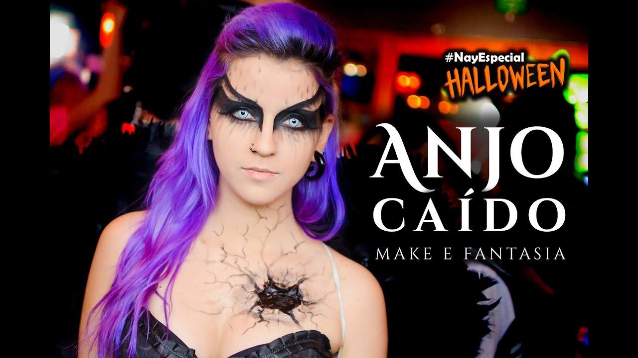 Anjo Caido Maquiagem Facil Festa De 1 Milhao Kah Bachini E Gabbie Fadel Especial Halloween 16 Youtube