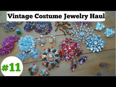 Vintage Costume Jewelry Haul #11 - November 2016 - Rhinestones Galore