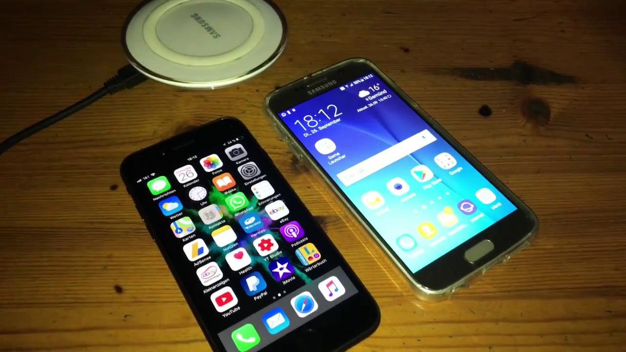 apple iphone 8 kabellos laden induktionsladung an einem iphone 8 mit samsung ladeger t anleitung. Black Bedroom Furniture Sets. Home Design Ideas