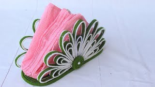 Beautiful napkin holder from woolen and newspaper | Easy home decor