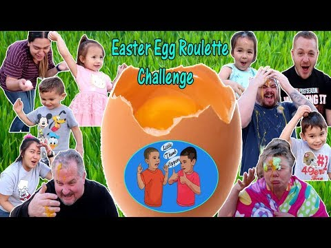 Easter Egg Roulette Challenge, Thumb Uppers Cracked Colored Eggs Over Our Heads