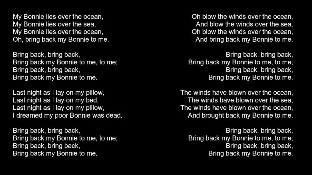 My Bonnie Lies Over The Ocean Lyrics