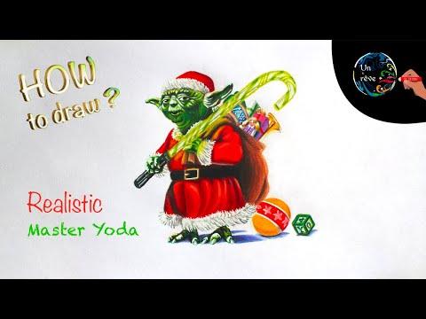 4 Master Yoda Star Wars Christmas Santa Claus Realistic Drawing