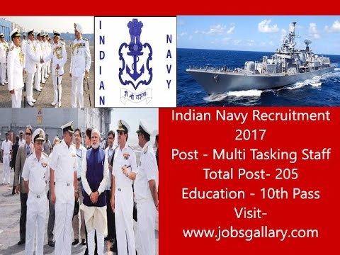 Indian Navy Recruitment, 205 Multi Tasking Staff, 10Th Pass, No fees, Apply Now