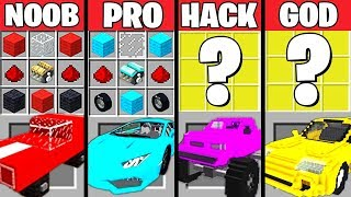Minecraft Battle: SUPER CAR CRAFTING CHALLENGE - NOOB vs PRO vs HACKER vs GOD ~ Minecraft Animation