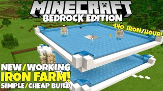 Minecraft Bedrock Upgradable Iron Farm Simple Working 440 Iron Hour 1 16 Nether Update Tutorial Youtube