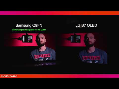(side by side) 2018 Samsung Q9F / Q9FN vs. LG OLED -- Night time Comparison