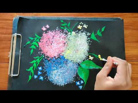 Easy painting technique with bubble wrap and buds | Pearl painting ideas