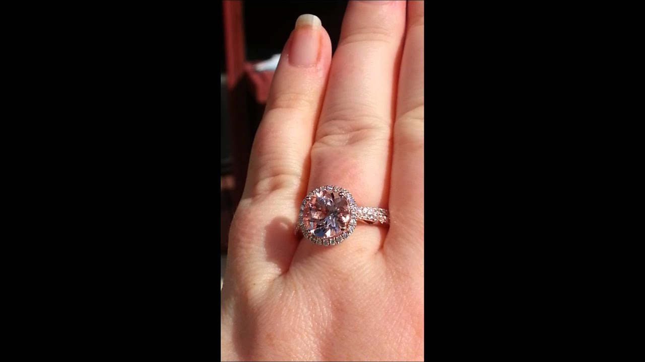 Peachy Pink Morganite in Diamond Halo Rose Gold Engagement Ring
