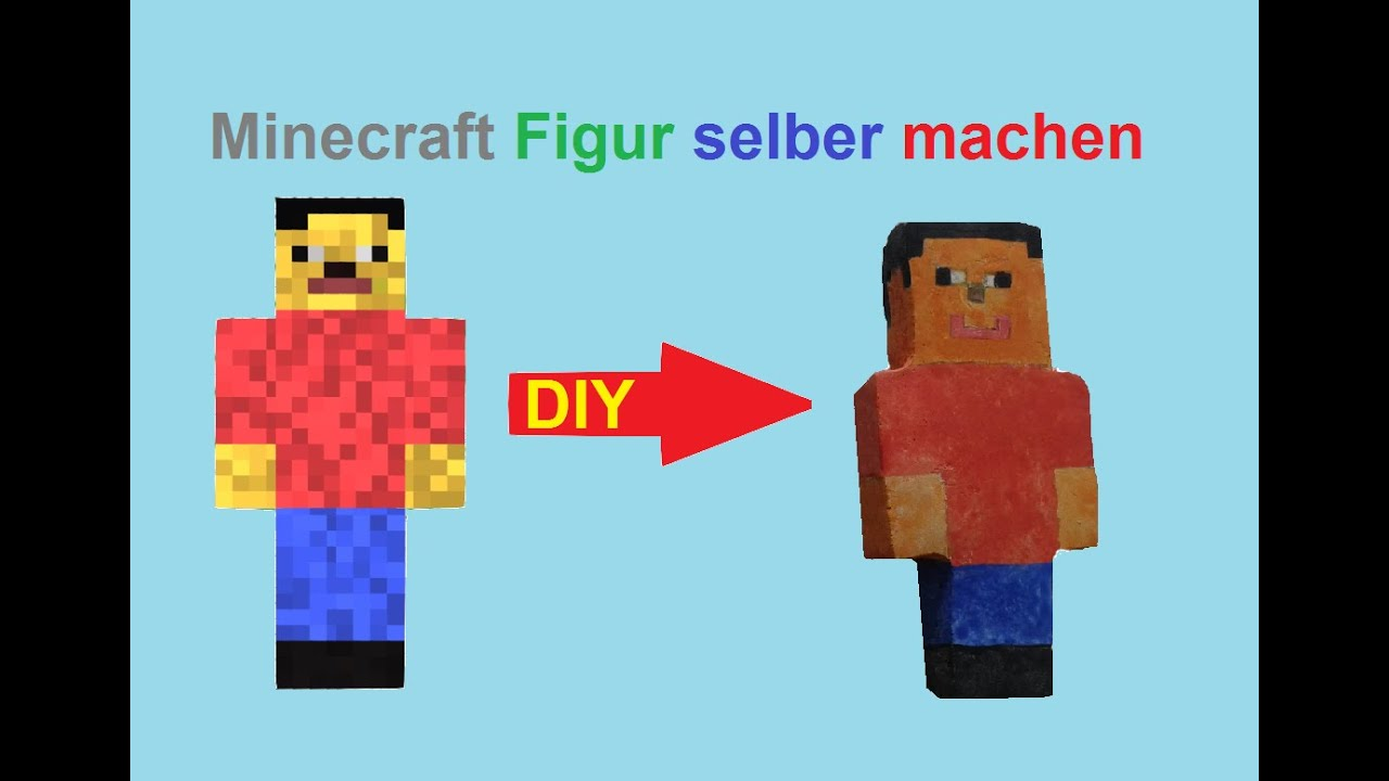 minecraft skin selber machen spielzeug figuren basteln figur aus gips bauen diy tutorial. Black Bedroom Furniture Sets. Home Design Ideas