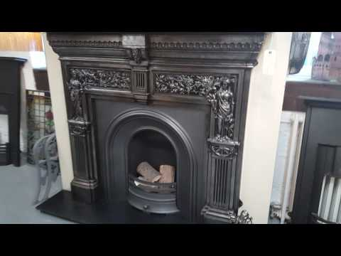 Antique Peace & Plenty Cast Iron Fireplace Mantel