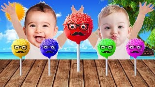 🍭 Funny Baby with Tantrum and Crying for Pop Cake Lollipops Learn Colors with Finger Family Song
