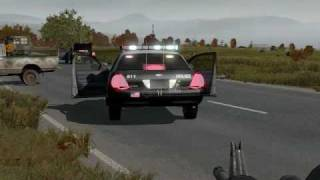 ArmA Police Car addon - Responding to a shooting involving a pickup and a bus!