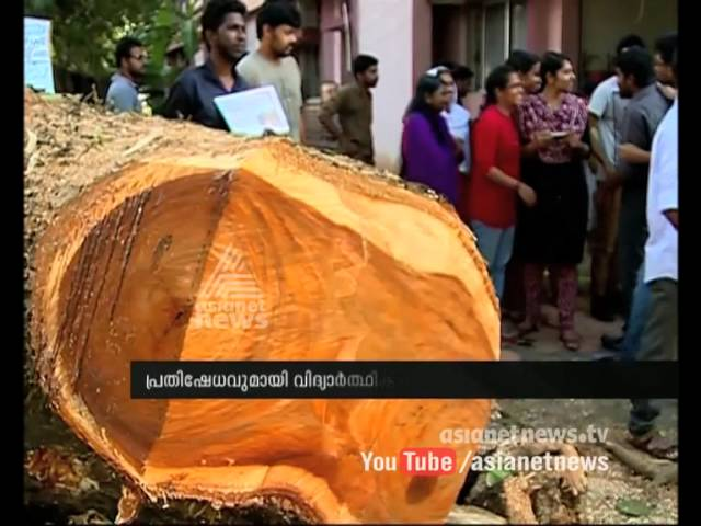 Protest against the cutting of shade trees in Lakeside View campus of Cochin University