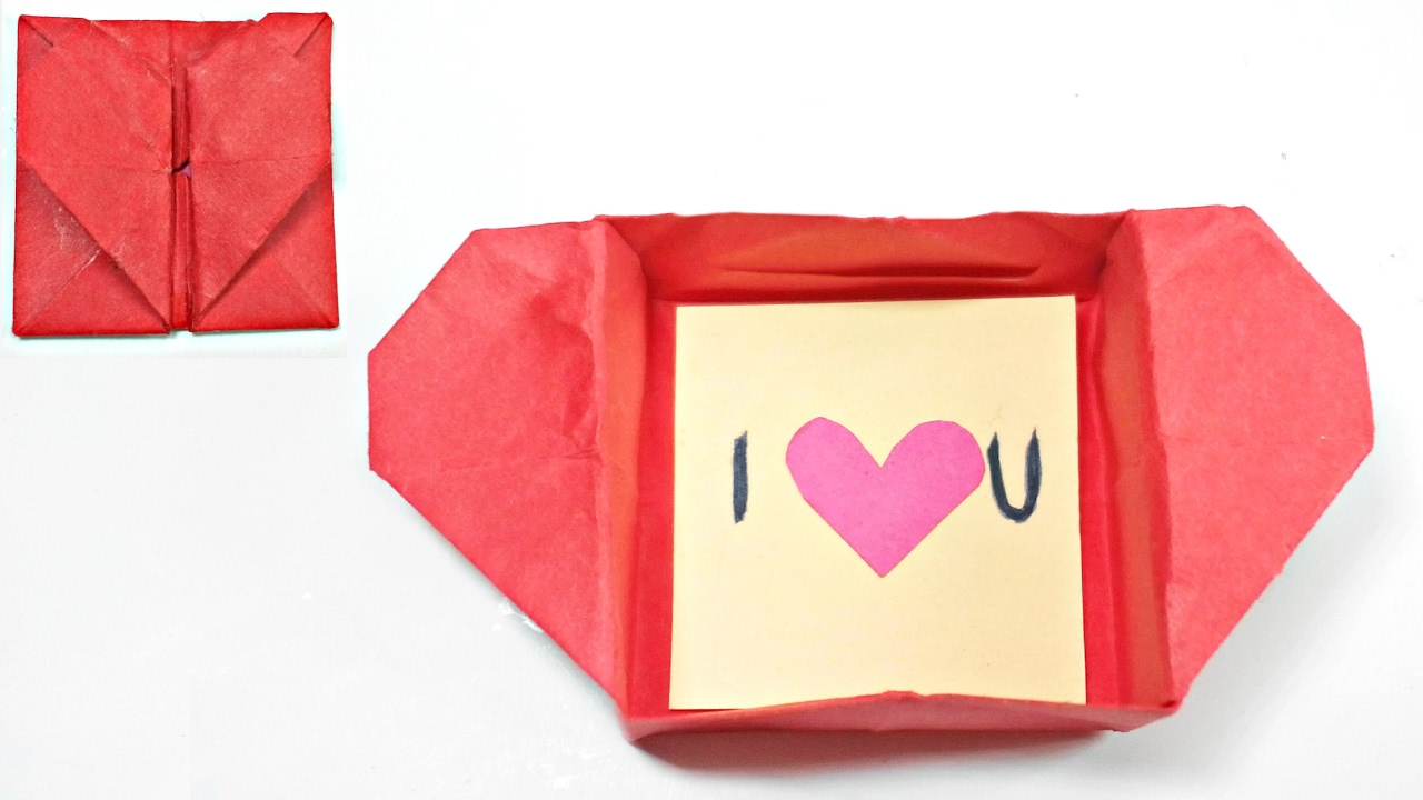 Origami Valentine Love Heart Box Envelope Secret Message For Beginners Valentines Day Card Gift