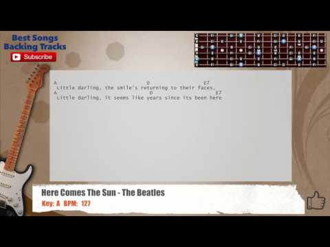 Here Comes The Sun - The Beatles Guitar Backing Track with chords and lyrics