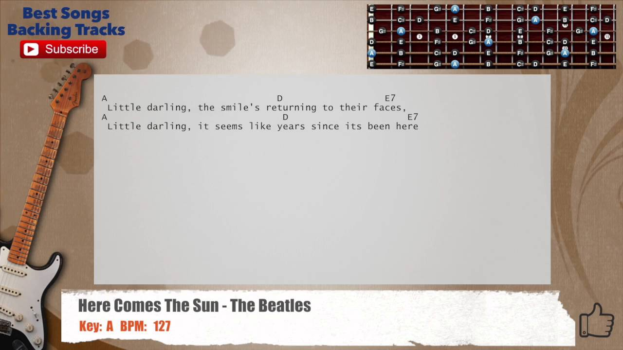 Here Comes The Sun The Beatles Guitar Backing Track With Chords