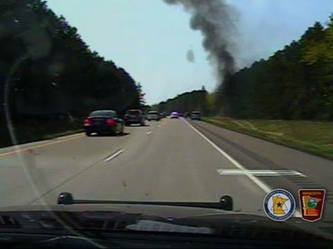 Raw: Dashcam Video Of Burning Car In Minnesota