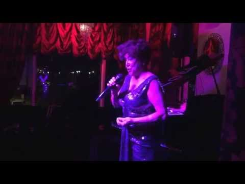 Li Harding as Shirley Bassey Tribute sings Almost There at the Cardiff Vip Bar in Cardiff Bay